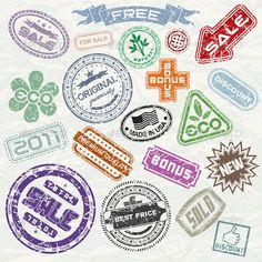Shopping Stamps Vector Collection #GraphicRiver Vintage Sale, Promotional and Shopping Stamps. Collection of Vector Design Elements. - vector illustration with simple gradients - vector graphics with CMYK colors for print - zip file contains images: AI, EPS, JPG Keywords: advertisement, aged, brush, concept, cutout, damaged, editable, idea, insignia, label, message, paint, paper, promotion, rubber, scratches, sign, styled, tag MORE VECTOR DESIGN ELEMENTS, TEMPLATES, LOGOS MORE VECTOR FONTS…