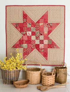 This little star quilt can be used as a wall hanging or table mat and is a super way to use up fabric scraps or charm packs! From Pat Sloan's book Teach Me to Machine Quilt.