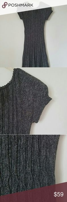 MAX STUDIO | Gray Sweater Dress Perfect for Fall. Soft, Comfortable and Cozy. Great with a pair of knee high boots.   EUC (worn once) Cap Sleeved Gray Sweater Dress Scallopped edging around neckline and sleeves  No tearing, snagging or stains Max Studio Dresses Midi
