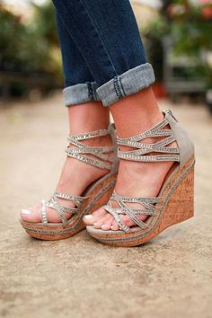 Coral Sea Wedge in Grey . - Coral Sea Wedge in Grey Cute Shoes, Me Too Shoes, Wedge Shoes, Shoes Heels, Wedge Sandals Outfit, Prom Heels, Crazy Shoes, Beautiful Shoes, Swagg