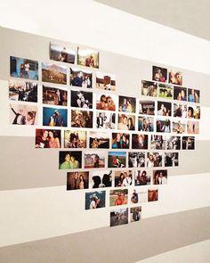 Para guardar as lembranças no coração ... Aqui vai uma ideia fofa para você tirar as fotos da gaveta. Vamos organizar um mural em forma de coração ? É bem simples: você pode colar as fotos diretamente com fita dupla face ou pode fazer um quadrinho de cada foto e…