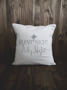 Silent Night 16 x 16 Christmas Pillow Cover, seasonal home decor, present, housewarming gift, cushion cover, throw pillow