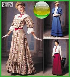 Simplicity 9723 1900s Historical American Dress Patterns Gibson