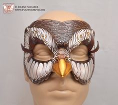 Leather Brown Owl Woodland Fantasy Cosplay Mask by PlatyMorph
