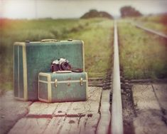 Beautiful suitcases and camera
