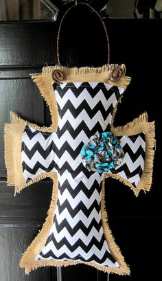 Chevron Burlap Cross Door Hanger. Gorgeous!!!!!!!!!