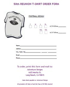 T-Shirt Order Form For Family Reunion 2 | T-Shirt Order Forms ...