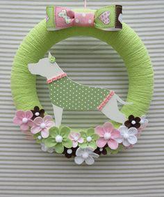 Pitbull Wreath Dog Wreath Puppy Wreath Green Yarn Wreath