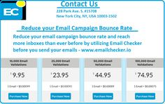 Reduce your email campaign bounce rate and reach more inboxes than ever before by utilizing Email Checker before you send your emails - https://www.emailchecker.io https://plus.google.com/108521322698324821517/posts/UuAqE1DZuC2