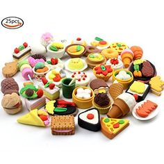 20 of Assorted IWAKO Japanese Puzzle Eraser - Restaurant Food Collection will be randomly selected from images) Eraser Collection, Cute Squishies, Cute Baby Bunnies, Barbie Doll Accessories, Cute Stationary, Cute School Supplies, Miniature Crafts, Mini Things, 6th Birthday Parties