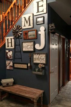 Stairway wall decorating ideas for small foyer - entryway staircase decor picture wall ideas for small foyers. foyer ideas, entryway decor, small entrance hall wall ideas, small foyer bench ideas and more easy home decor ideas on a budget and f Foyer Wall Decor, Foyer Bench, Entryway Stairs, Staircase Decoration, Letter Wall Decor, Entry Table Decorations, Stairwell Wall, Grey Wall Decor, Entry Wall