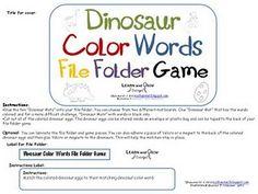 Dinosaur Color Words File Folder Game- Free Download from: myshaenoel.blogspot.com
