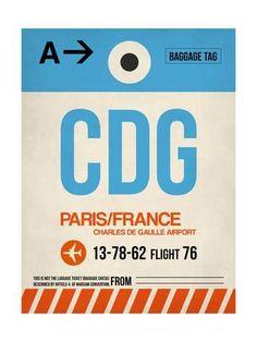 CDG Paris Luggage Tag 2 Kunstdruk