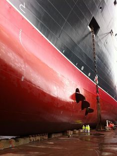 Queen Mary 2 in the dry dock.