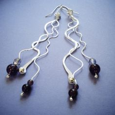 Sterling silver forged and hammered earrings with glass beads and stones - handmade by Silva Sitārā * www.facebook.com/SilvaSitara