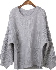 Grey Batwing Long Sleeve Loose Pullovers Sweater
