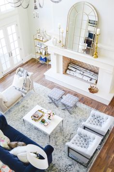 25 Reasons to say yasss to a blue sofa :: Rach Parcell of Pink Peonies's beautiful Living Room