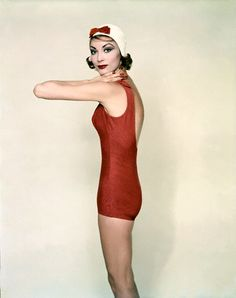 red swimsuit by Rose Marie Reid. 1958