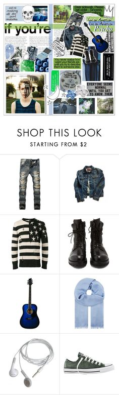 """""""She's an American beauty // I'm an American psycho"""" by the-end-of-infinity ❤ liked on Polyvore featuring Hansen, R13, Balmain, Rick Owens, MaxMara, J.Crew, Converse, men's fashion, menswear and falloutboy"""