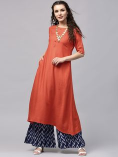 Buy Libas Orange Woven Design A-Line Kurta with Pocket online in India at best price.Orange woven design A-Line kurta , has a round neck, short sleeves, two insert pockets, flared hem Party Wear Dresses, Event Dresses, Party Dresses For Women, Pakistani Outfits, Indian Outfits, Ethnic Fashion, Indian Fashion, Sari Design, A Line Kurta