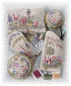 Embroidered Country Garden Needlecase – Full Kit - About Life Silk Ribbon Embroidery, Embroidery Stitches, Embroidery Patterns, Hand Embroidery, Sewing Crafts, Sewing Projects, Needle Case, Sewing Box, Sewing Accessories