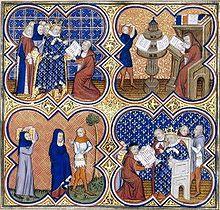 Charles V ordonnant la traduction d'Aristote (Enluminure du prologue de Politiques, Economiques, Ethiques d'Aristote, vers 1370, BnF)- Charles est un patron des arts: il reconstruit le Louvre en 1367 et y fonde la 1° Librairie royale, qui deviendra quelques siècles plus tard la Bibliothéque nationale de France. Charles V fait aménager dans la Tour de la Fauconnerie des pièces où il transfère ses livres (à l'époque 965 notices).