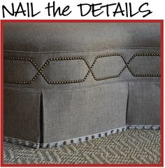 Like this design possibly on siderails and foot board of upholstered bed frame. Nail the details