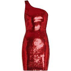 Saint Laurent One-shoulder sequin-embellished mini dress ($2,670) ❤ liked on Polyvore featuring dresses, red, sequin cocktail dresses, bodycon mini dress, sequin mini dress, party dresses and one shoulder cocktail dress