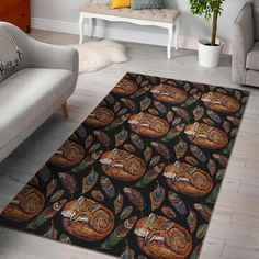 Fox Feather Pattern Print Home Decor Rectangle Area Rug Trendy Colors, Vivid Colors, Print Patterns, Pattern Print, Rectangle Area, Feather Pattern, Large Rugs, One Color, Animal Print Rug