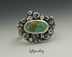 Silver Ring Apple Coral Ring Statement Ring Cocktail by LjBjewelry