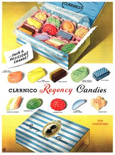 Clarnico Regency Candies for a delicious change! 1950s. (Why don't they make boxes of candy like this anymore?!)
