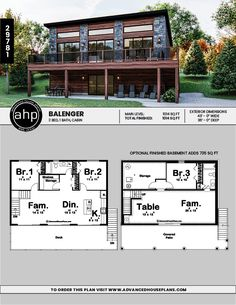 Modern Style Cabin Plan | Balenger    #moderncabin #cabinsweetcabin #cabinplans #cabinfloorplans #designbuild #cabinlife #outdoorliving #vrbo #vacationhome #incomeproperty #rentalproperty Lake House Plans, Cabin Floor Plans, Rustic House Plans, Cabin Design, Tiny House Design, House With Land, Building A House, Building Design, Model House Plan