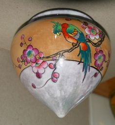 Made in occupied Japan by UCGCO. United China & Glass Co., dates back to In UCAGCO was sold to Sammons Enterprises. Art Deco Kitchen, Flower Branch, Vintage Planters, Hanging Pots, Displaying Collections, Display Ideas, Luster, Iridescent, Christmas Bulbs