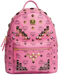 MCM Small M Stud Backpack (Pink)