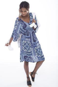 The boho tile print dress. Shoe Shop, Fashion Online, Tile, Wrap Dress, Fashion Accessories, Plus Size, Boho, Clothes For Women, Lady