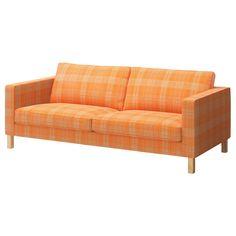 "KARLSTAD Sofa - Husie orange - IKEA $499 Width: 80 3/4 "" Depth: 36 5/8 "" Height: 31 1/2 "" Seat depth: 22 "" Seat height: 17 3/4 """