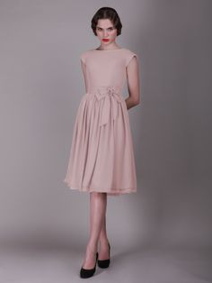 Cap Sleeved Vintage Bridesmaid Dress with Faux Buttons - bridesmaid dresses??
