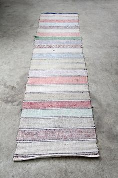 Vintage Rag Rug // Scandinavian Floor Runner // 7.5 ft