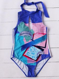 Multicolor Dolphin Print Keyhole One&piece Swimwear
