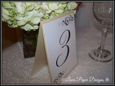 Champagne Gold Ivory Wedding Table Number Cards - Table Tent - Table Number (set of 10)