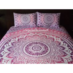 Mandala Quilt Cover and Pillowcases Boho Duvet Cover Roundie Mandala... ($65) ❤ liked on Polyvore featuring home, bed & bath, bedding, duvet covers, grey, home & living, queen pillowcases, king pillowcases, cotton pillowcases and grey bedding