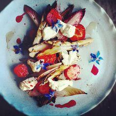 Griddled chicory, macerated strawberry, strained ewe's yoghurt & cinnamon.