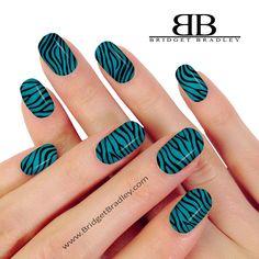 Blue Zebra Nail Wraps 100% Real Nail Polish Nail Wraps