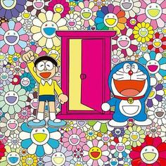 Takashi Murakami, We Came to the Field of Flowers Through Anywhere Door (Dokodemo Door)!, 2018 Acrylic on canvas mounted on aluminum frame, 47 ¼ × 47 ¼ inches × 120 cm)© 2018 Takashi Murakami/Kaikai Kiki Co. All rights reserved Takashi Murakami Art, James Rosenquist, Modern Art, Contemporary Art, Claes Oldenburg, Graphic Design Tools, Jasper Johns, Room Posters, Wallpapers