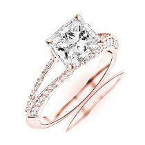 1.2 Carat t.w. GIA Certified Princess Cut 14K Rose Gold Split Shank Pave Set Diamond Engagement Ring (G-H Color SI1-SI2 Clarity)