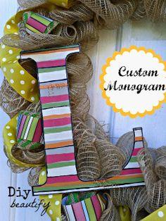 Custom Monogram   Diy beautify http://www.diybeautify.com/2013/09/an-unconventional-wreath-for-fall-using.html#axzz2rpOB5gty