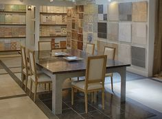 The interior of our newly renovated Los Angeles showroom features several Product Galleries where you can decide on your tile and stone purchases in comfort and style.
