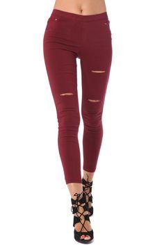Leggings largos de cintura alta con roturas