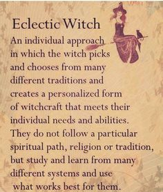 Eclectic witch, she doesn't follow the rules