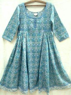 Boho chic Anokhi Teal & Blue Suzani Jali Hand block print Indian cotton Gypsy style Maxi DressNice fine cotton with scoop neckline, hand made buttons, side Girls Dresses Sewing, Stylish Dresses For Girls, Stylish Dress Designs, Frocks For Girls, Casual Dresses, Girls Designer Dresses, Winter Dresses, Short Dresses, Pakistani Kids Dresses
